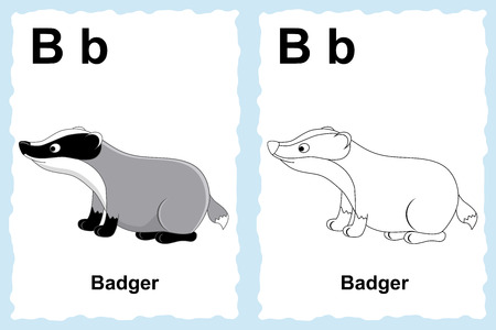 Vector Line Art Animals : Alphabet coloring book page with outline clip art to color letter