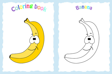 Coloring book page for  children with colorful banana and sketch to color. Preschool education. Vector illustration. Kids activity.