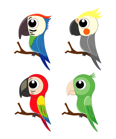 Set of different cartoon parrots. Exotic birds. Vector illusration isolated on white background. Ilustração