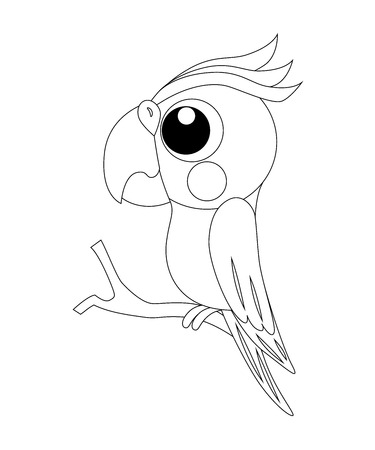 Colorless  funny cartoon parrot. Vector illustration. Coloring page. Preschool education.
