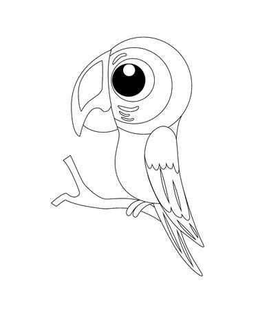 Colorless  funny cartoon parrot. Vector illustration. Coloring page. Preschool education.
