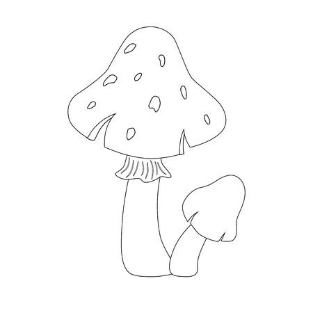 Colorless funny cartoon red mushrooms . Vector illustration. Coloring page. Preschool education.