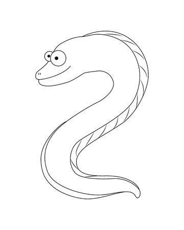 Colorless  funny cartoon moray eel. Vector illustration. Coloring page. Preschool education.Sea  animal.