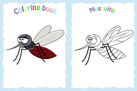Coloring book page for preschool children with colorful mosquito and sketch to color Stock Illustratie