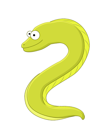 Cute cartoonmoray eel. Sea animal. Vector illustration isolated on white background.