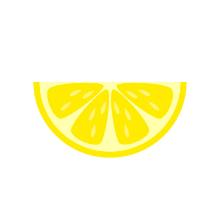 Yellow lemon slice vector illustration isolated on white background.