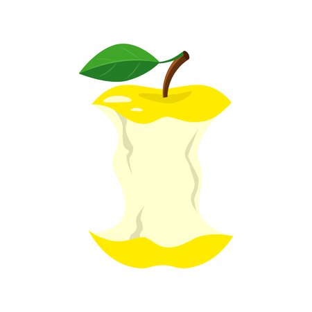 Yellow apple stub. Vector illustration isolated on white background. 向量圖像