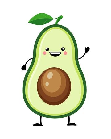 Illustrazione vettoriale di avocado in stile piano isolato su priorità bassa bianca. Verdure del fumetto. Vettoriali