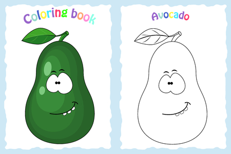 Coloring book page for  children with colorful avocado and sketch to color. Preschool education. Vector illustration. Kids activity.