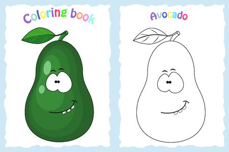 Malbuchseite für Kinder mit bunter Avocado und Skizze zum Ausmalen. Vorschulbildung. Vektorillustration. Kinderaktivität.