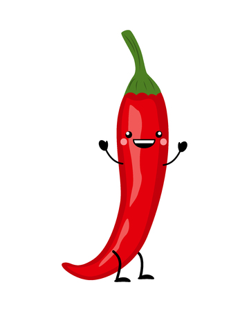 Red chili pepper  vector illustration in flat style  isolated on white background. Cartoon vegetables. 矢量图像