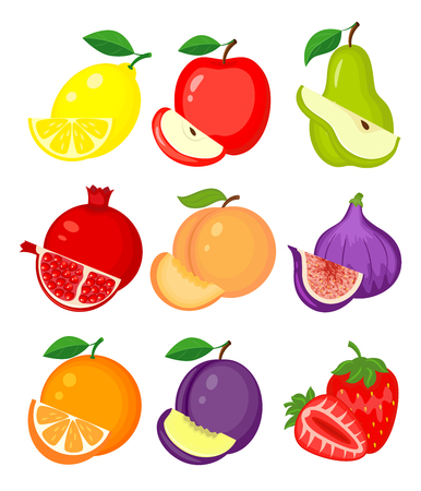 Set of different fruits. Lemon, apple, pear, pomegranate, peach, figs, orange, plum, strawberry vector illustration isolated on white background Ilustração