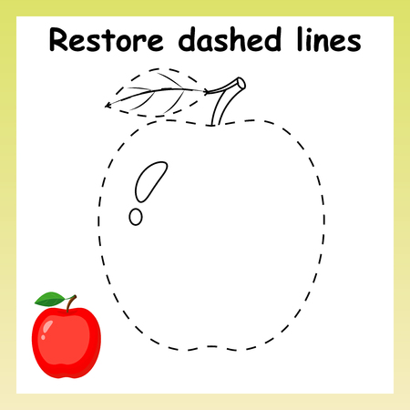 Trace game for children. Cartoon red apple. Restore dashed line and color picture