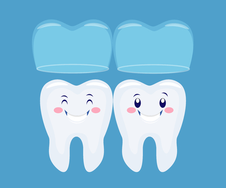 two funny cartoon tooths with the invisible  braces system.Vector illustration