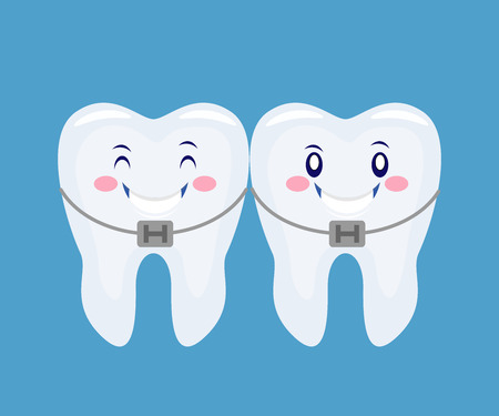 two funny cartoon thooths with the braces system.Vector illustration