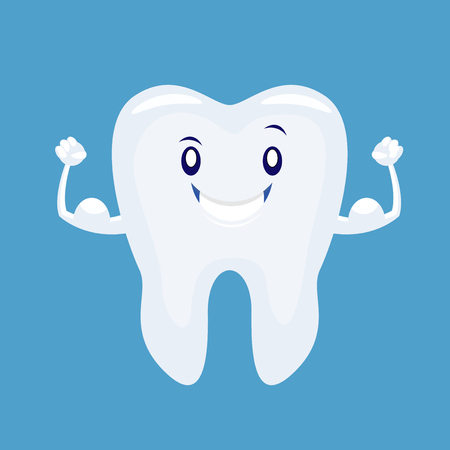 Cute cartoon strong tooth . Vector illustration isolated on white background Illustration