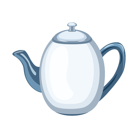 Ceramic teapot vector illustration inflat style. Vector illustration isolated on white background. Vettoriali