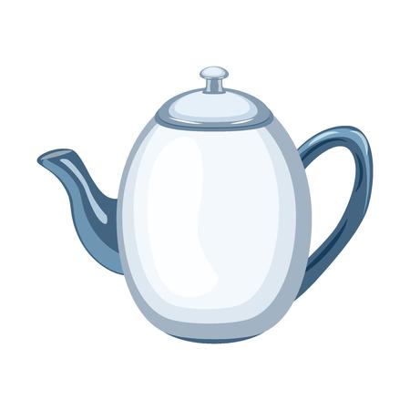 Style de gonflage illustration vectorielle théière en céramique. Illustration vectorielle isolée sur fond blanc. Vecteurs