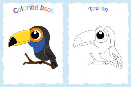 Malbuchseite für Kinder mit buntem Tukan und Skizze zum Ausmalen.