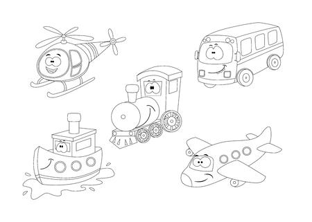 Set of cartoon transport coloring book.