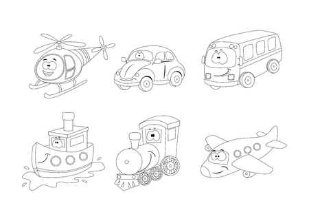 Set of cartoon transport coloring book. Helicopter, car,bus, ship, train, airplane.
