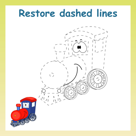 Trace game for children. Cartoon train. Restore dashed line and color picture!