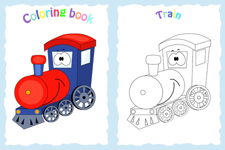 Coloring book page for  children with colorful train  and sketch to color.