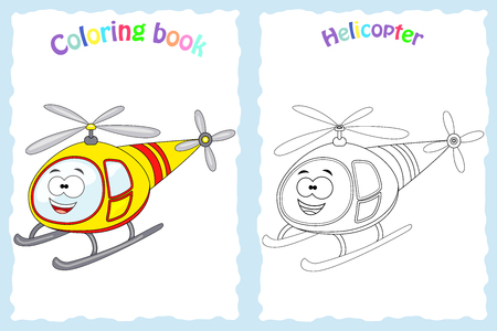 Coloring book page for  children with colorful helicopter  and sketch to color. Illustration