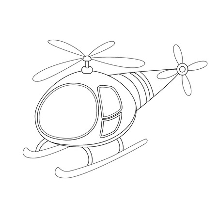 Colorless  funny cartoon helicopter. Vector illustration. Coloring page. Preschool education Ilustração