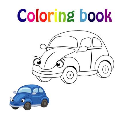 Página de libro para colorear para niños con coche colorido y boceto a color.