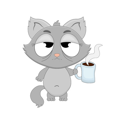 Cute cartoon sleepy cat with a cup of coffee in hands. Vector illustration isolated on white background. Vector Illustration