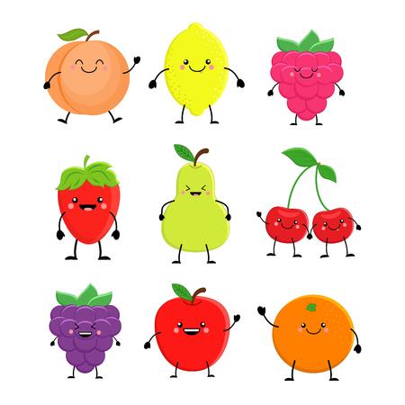 Set of cute cartoon fruit. Lemon, orange, apple pear,raspberry, cherry, strawberry, peach, blackberry. Vector illustration isolated on white background. Kawaii fruits