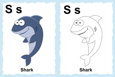 Alphabet coloring book page with outline clip art to color. LetterS. Shark. Vector animals.