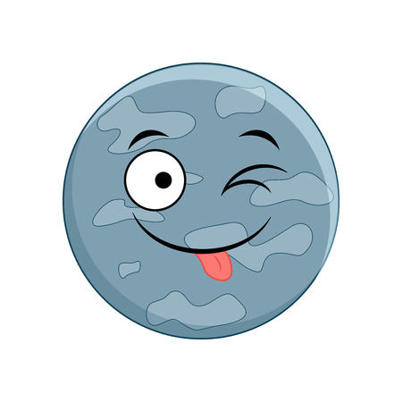 Cute cartoon Mercury planet. Vector illustration isolated on white background.