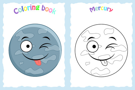 Coloring book page for preschool children with colorful Mercury  planet  and sketch to color.