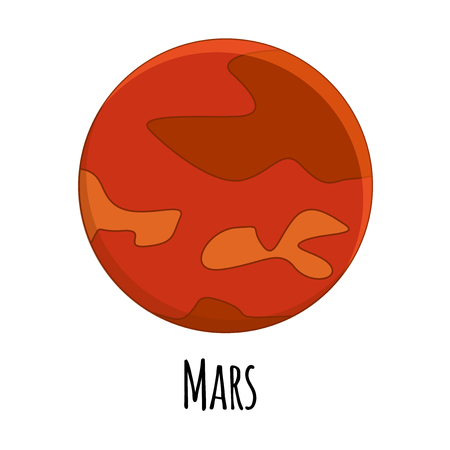 cartoon Mars planet. Vector illustration isolated on white background.