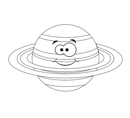 Colorless  funny cartoon saturn planet. Vector illustration. Coloring page. Preschool education.