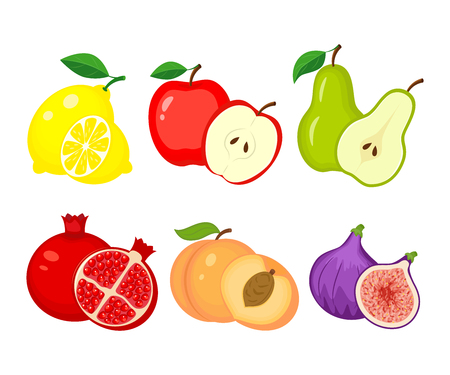 Set of different fruits. Lemon, apple, pear, pomegranate, peach, figs vector illustration isolated on white background