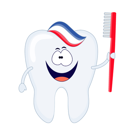 Cute cartoon tooth with a red toothbrush and toothpaste. Vector illustration isolated on white background. Banco de Imagens - 114917534