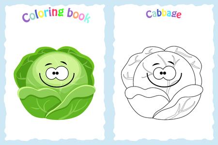 Coloring book page for children with colorful cabbage and sketch to color. Preschool education. Vector illustration. Kids activity. Vektoros illusztráció
