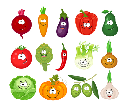 Funny cartoon set of different vegetables. Smiling beetroot, carrot, eggplant, bell pepper, tomato, avocado, artichoke, chili, fennel, onion, cabbage, pumpkin, olives. Vector illustration isolated on white background