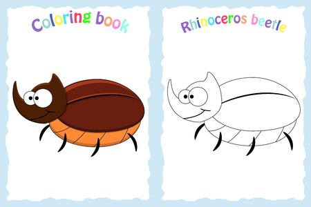 página para colorear libro para niños en edad preescolar con colorido escarabajo de rinoceronte y boceto para color