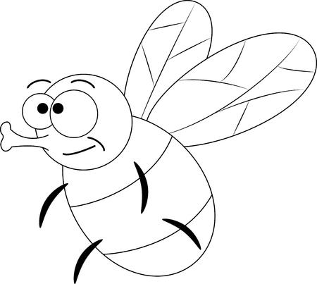 Colorless funny cartoon fly. Vector illustration. Coloring page. Preschool education