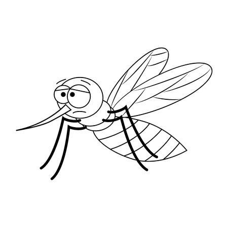 Colorless funny cartoon mosquito. Vector illustration. Coloring page. Preschool education