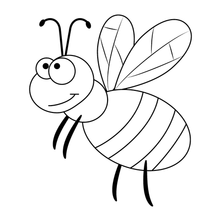 Colorless funny cartoon bee. Vector illustration. Coloring page. Preschool education Illustration