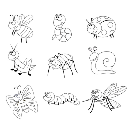 Coloring page for preschool children. Set of different cartoon insects. Funny insects. Vector illustration. Bee, worm, ladybug, grasshopper, spider, snail,butterfly, caterpillar, mosquito.