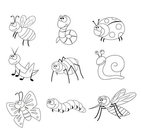 Pagina da colorare per bambini in età prescolare. Set di diversi insetti dei cartoni animati. Insetti divertenti. Illustrazione vettoriale. Ape, verme, coccinella, cavalletta, ragno, lumaca, farfalla, bruco, zanzara. Vettoriali