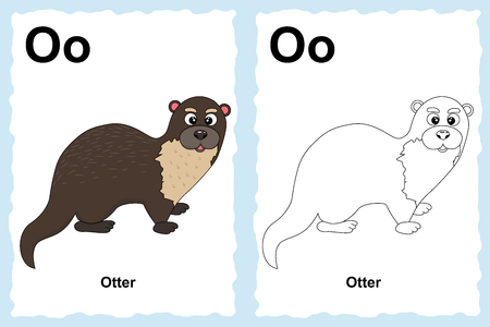 alphabet coloring book page with outline clip art to color. Letter O