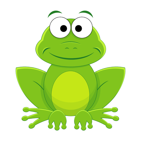 Cute funny cartoon frog. Vector illustration. Cartoon reptile. Vector reptile isolated on white background.