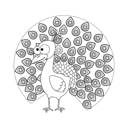 Colorless funny cartoon peacock. Vector illustration. Coloring page. Preschool education